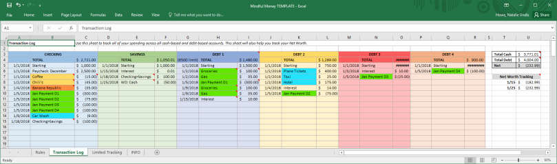 Money Spreadsheet 02 Transaction Log