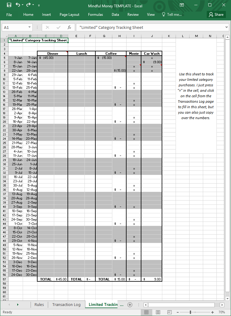 Money Spreadsheet 03 Limited Tracking